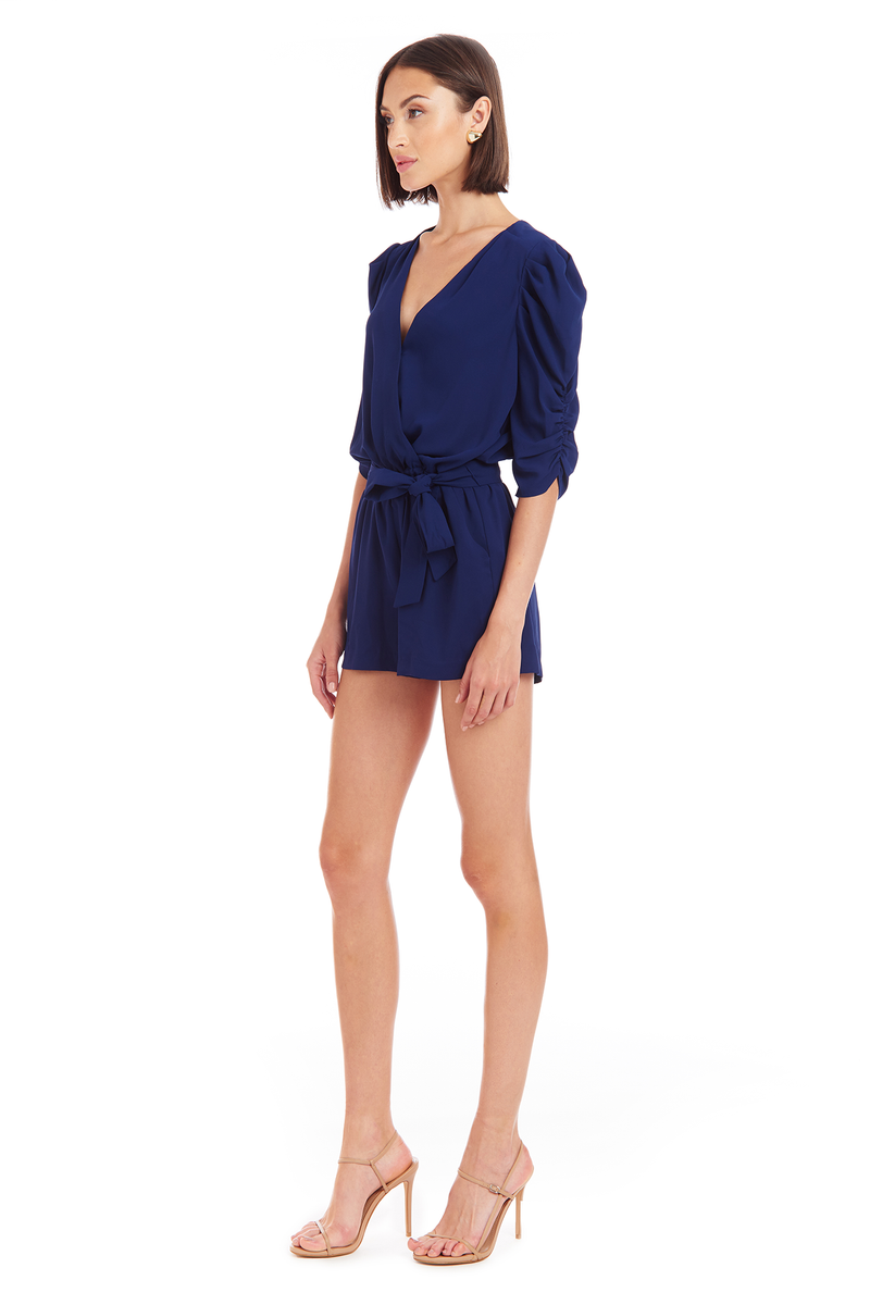 Amanda Uprichard Annika Romper - Navy | Women's Rompers