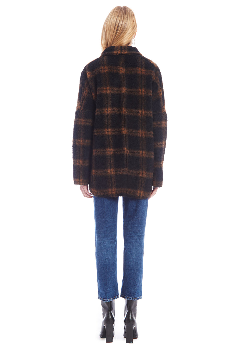 Amanda Uprichard Aspen Cardi - Brown/Black Plaid | Women's Coats