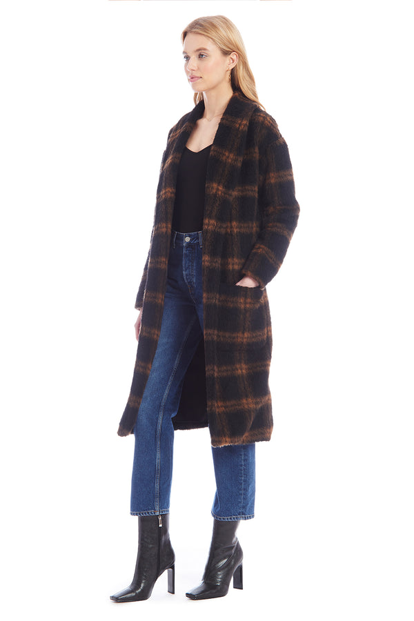 Amanda Uprichard Aspen Coat - Brown/Black Plaid | Women's Coats