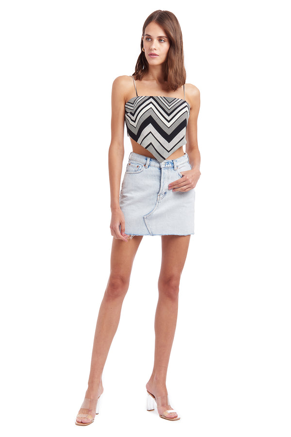 Amanda Uprichard Atlanta Printed Top -  Zig Zag Stripe | Women's Tops