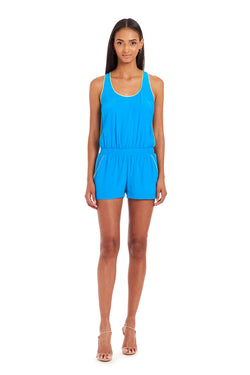 Amanda Uprichard Beacon Romper - Blue | Women's Rompers