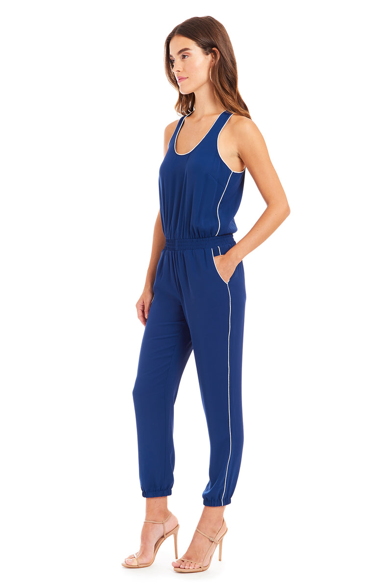 Amanda Uprichard Beacon Jumpsuit - Navy | Women's Jumpsuits & Rompers