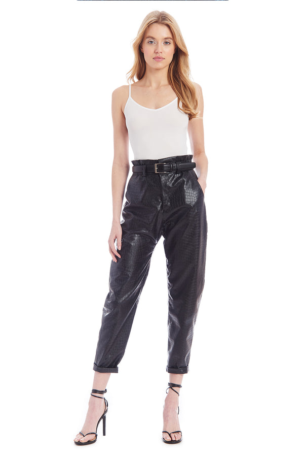 Amanda Uprichard Beekman Pants - Black Faux Crocodile | Women's Pants