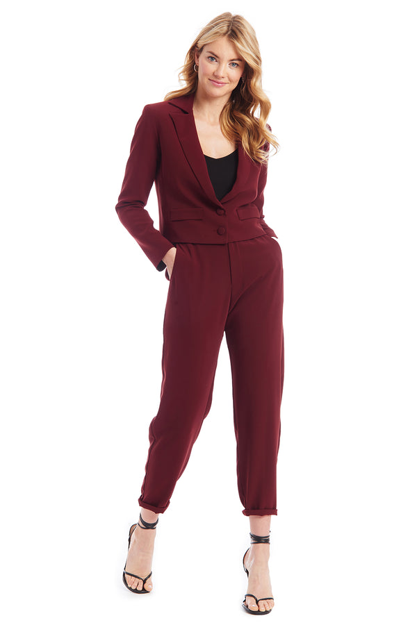 Amanda Uprichard Wyndham Blazer - Dark Red | Women's Blazers