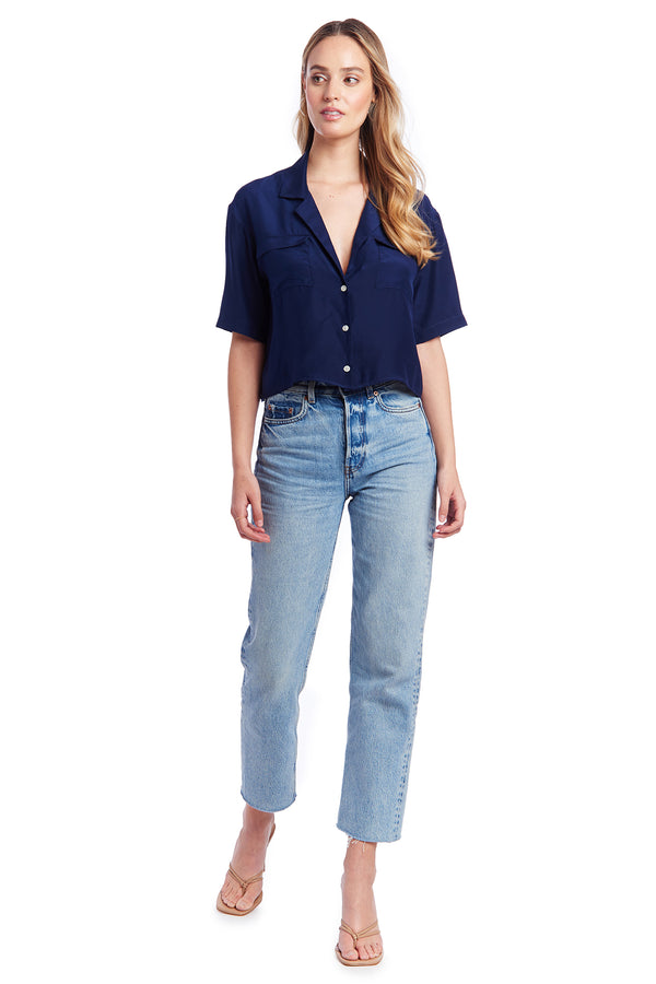 Amanda Uprichard Bleecker Top - Navy | Women's Tops