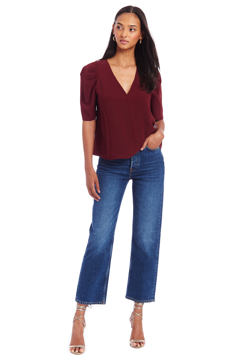 Amanda Uprichard Bonjour Top - Dark Red | Women's Tops