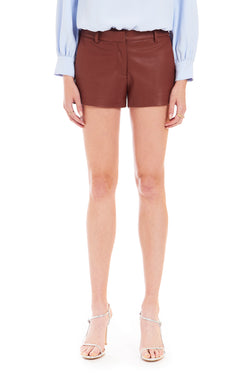 Amanda Uprichard Brooklyn Shorts in Faux Leather - Brown | Women's Bottoms