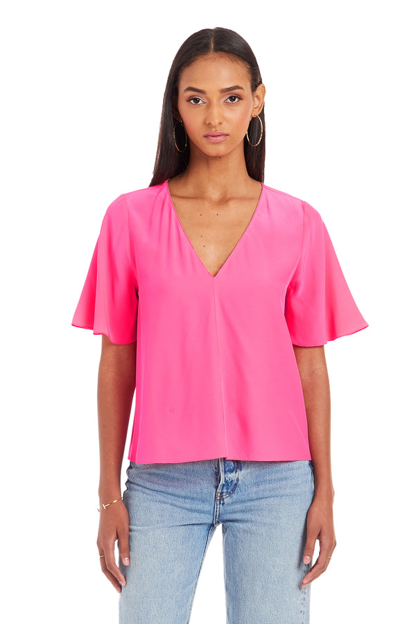 Amanda Uprichard Copely Top - Pink | Women's Tops
