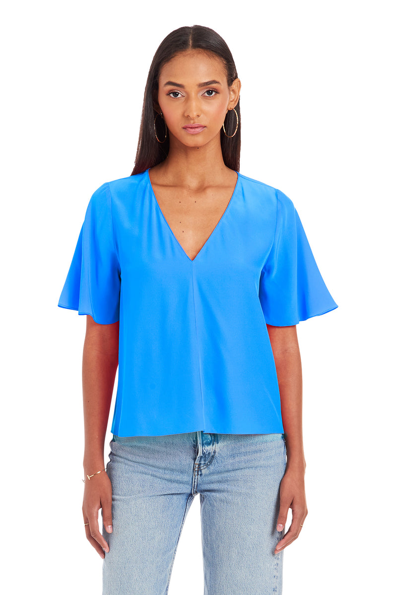 Amanda Uprichard Copely Top - Blue | Women's Tops
