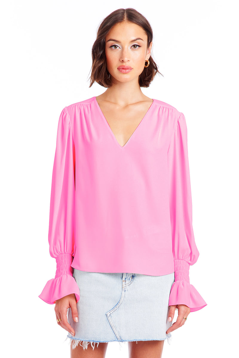Amanda Uprichard Cressida Top - Shocking Pink | Women's Tops