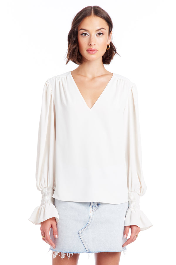 Amanda Uprichard Cressida Top - Ivory | Women's Tops