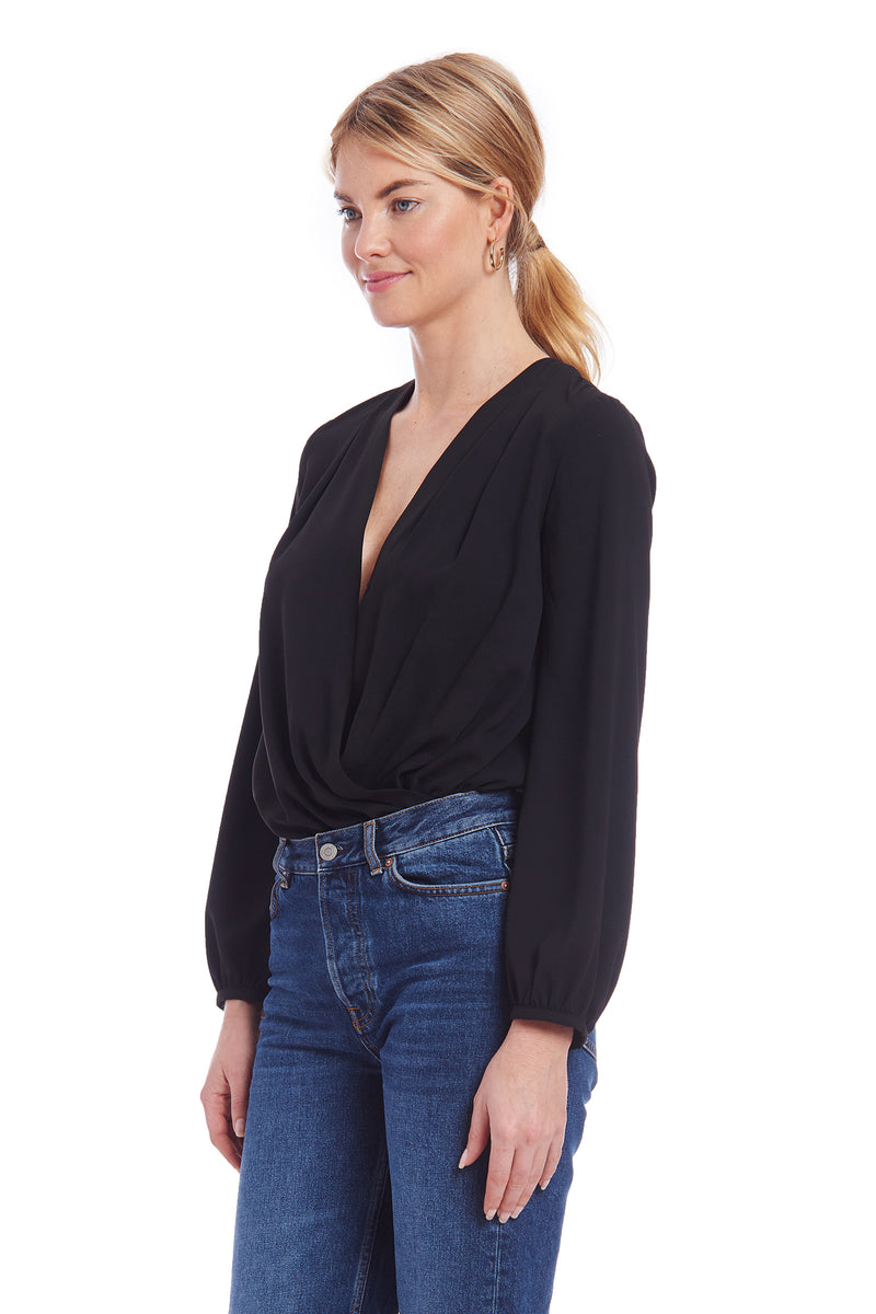 Amanda Uprichard Crossover Bodysuit - Black | Women's Bodysuits