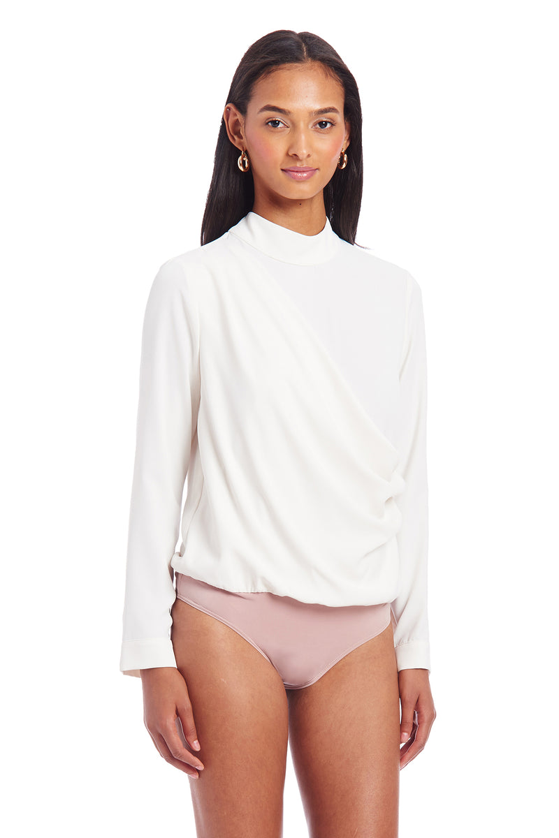 Amanda Uprichard Daya Bodysuit - Ivory | Women's Tops
