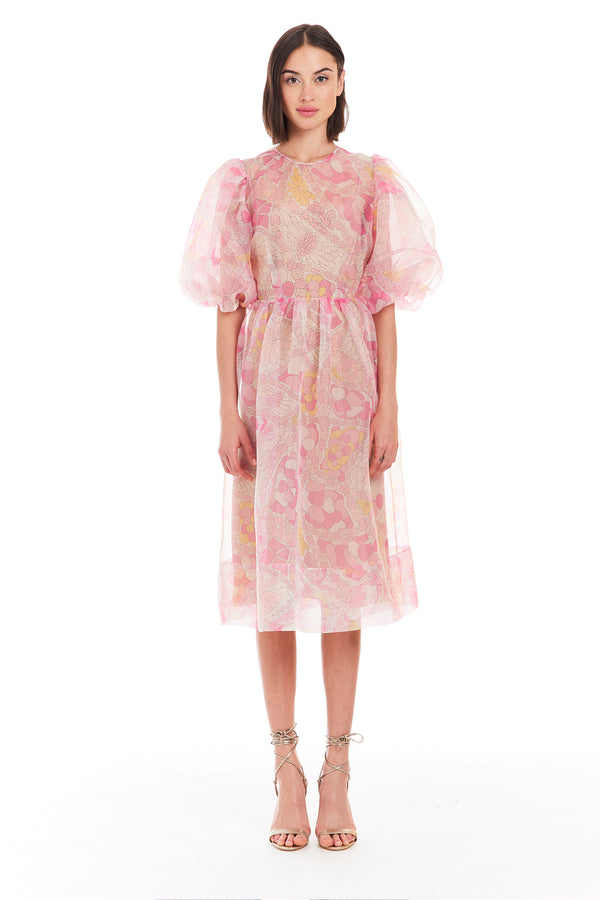 Amanda Uprichard Diem Midi Dress - Pink Floral | Women's Dresses