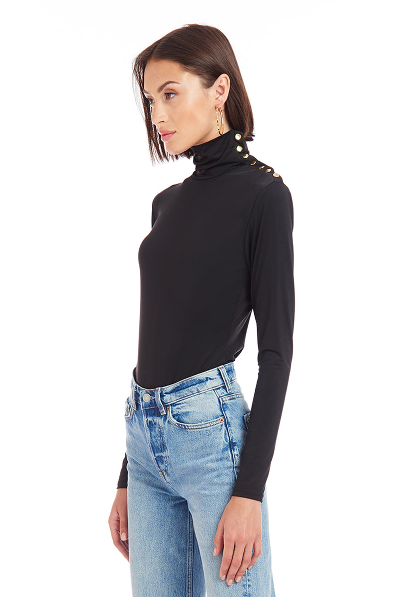 Amanda Uprichard Elvin Bodysuit - Black | Women's Tops