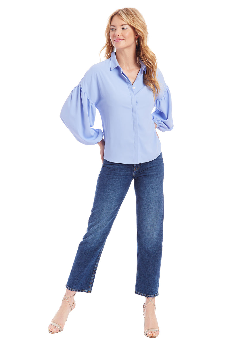 Amanda Uprichard Essence Top - Light Blue | Women's Tops