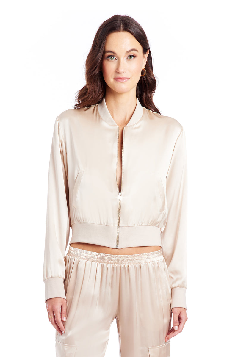 Amanda Uprichard Frankie Bomber Jacket - Bone | Women's Tops