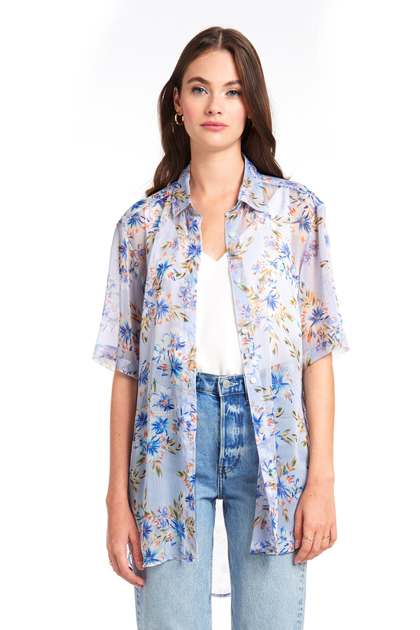 Amanda Uprichard Grandpa Shirt - Blue Floral | Women's Tops