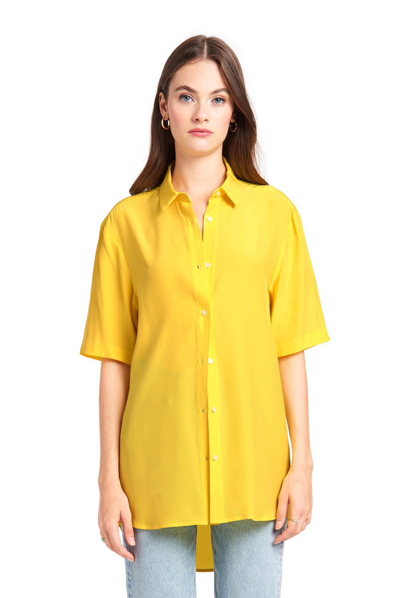 Amanda Uprichard Grandpa Shirt - Yellow | Women's Tops