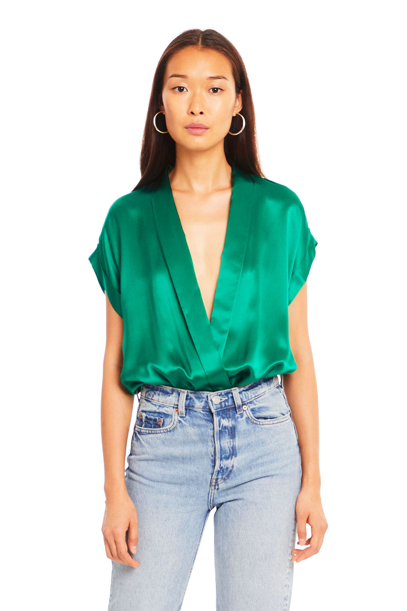 Amanda Uprichard Hera Bodysuit - Green | Women's Tops
