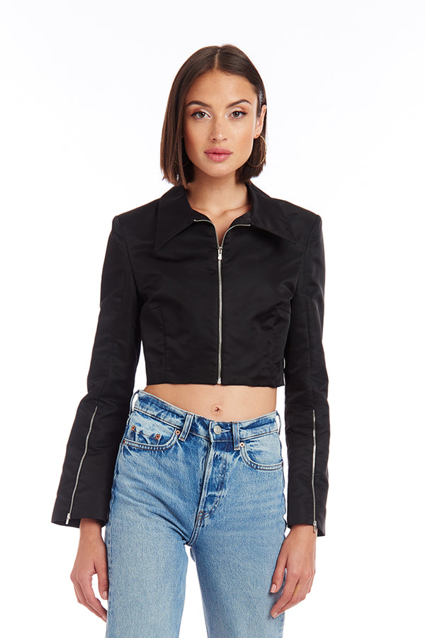 Amanda Uprichard Howard Crop Blazer - Black | Women's Tops