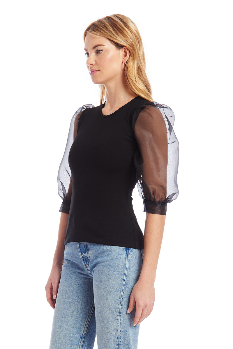 Amanda Uprichard Jilly Organza Top - Black | Women's Tops