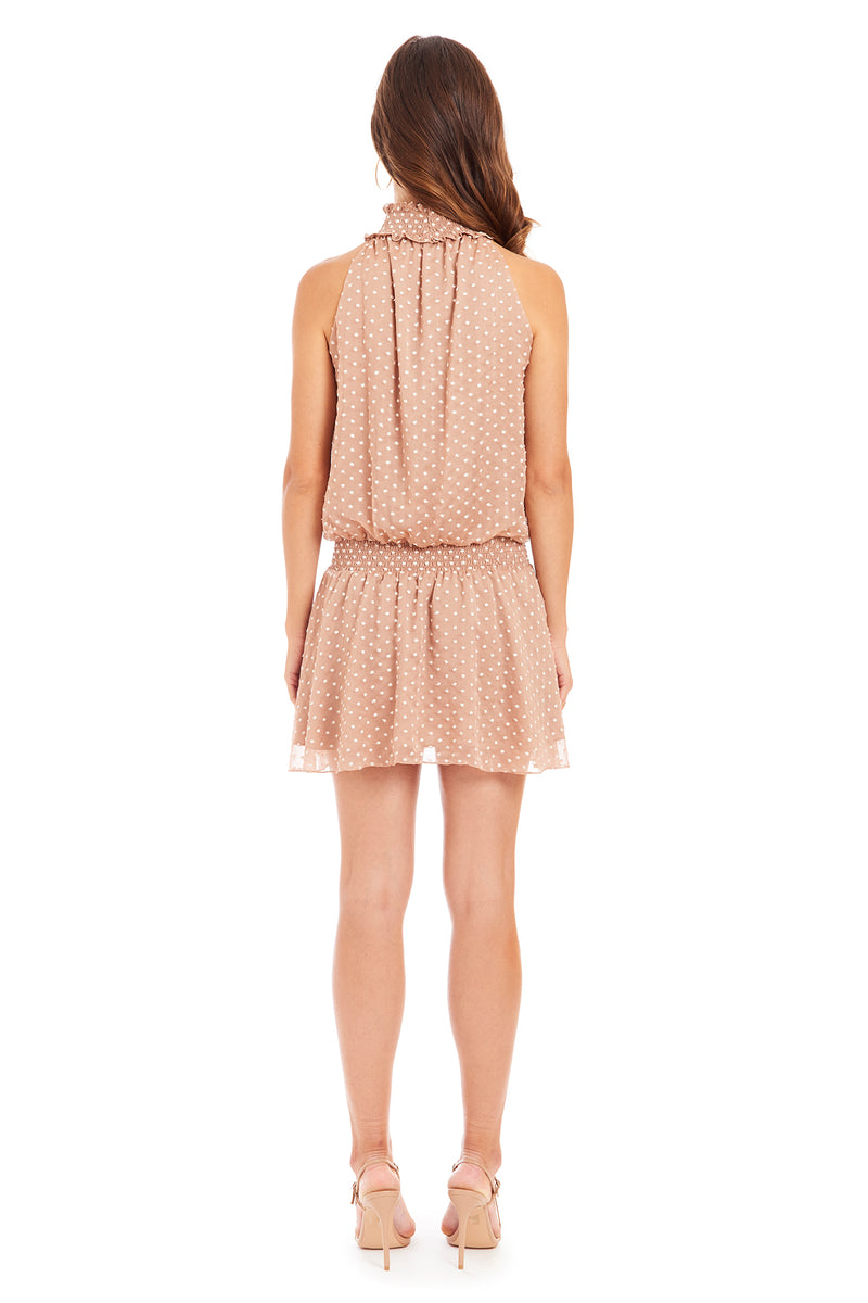 Amanda Uprichard Embroidered Dot Kimmie Dress - Beige | Women's Dresses