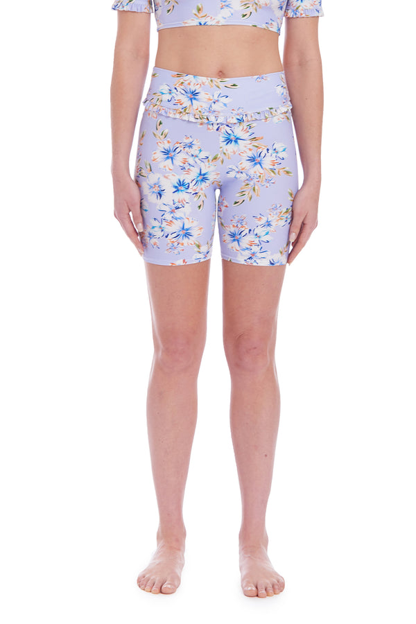 Amanda Uprichard Lagoon Bike Shorts - Aquaflora | Women's Swim