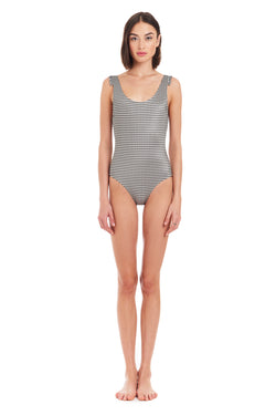 Amanda Uprichard Lagoon One Piece - Black Gingham | Women's Swim