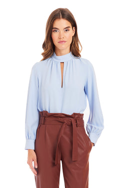 Amanda Uprichard Long Sleeve Ivette Bodysuit - Blue | Women's Tops