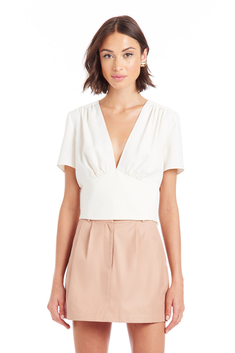 Amanda Uprichard Marlena Top - Ivory | Women's Tops