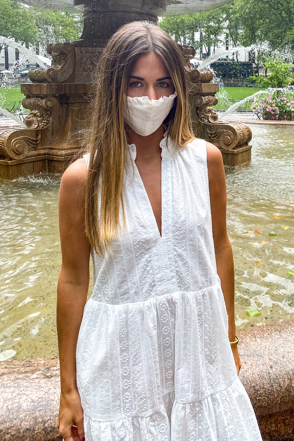 Fashion Face Mask - White Embroidered