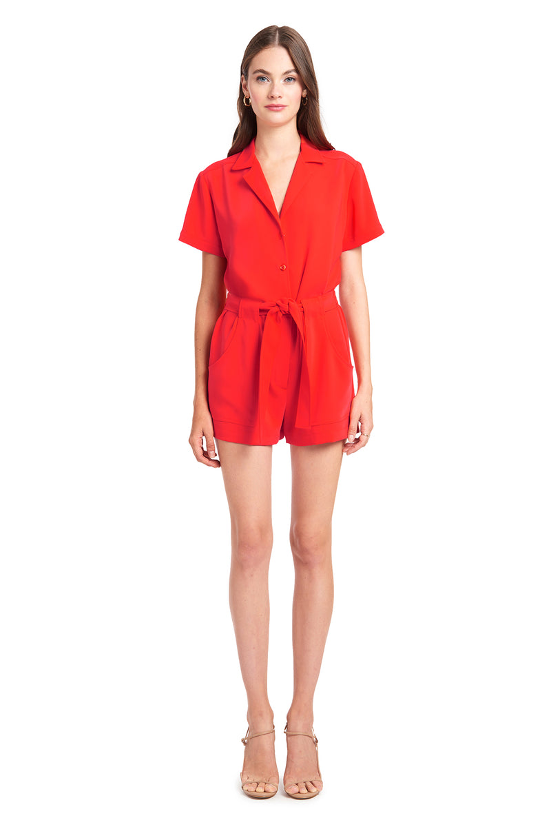 Amanda Uprichard Micki Romper - Red | Women's Rompers