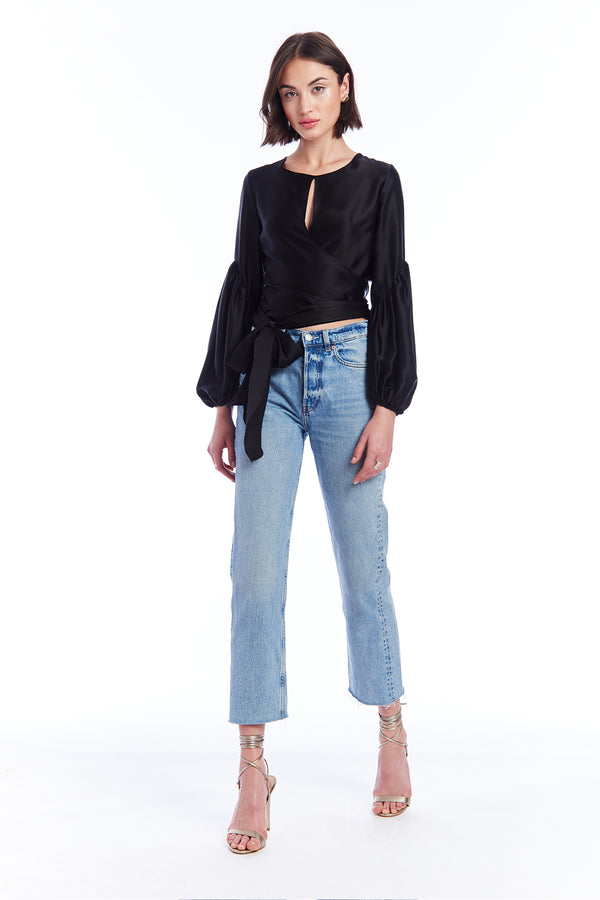 Amanda Uprichard Moira Silk Wrap Top - Black | Women's Tops