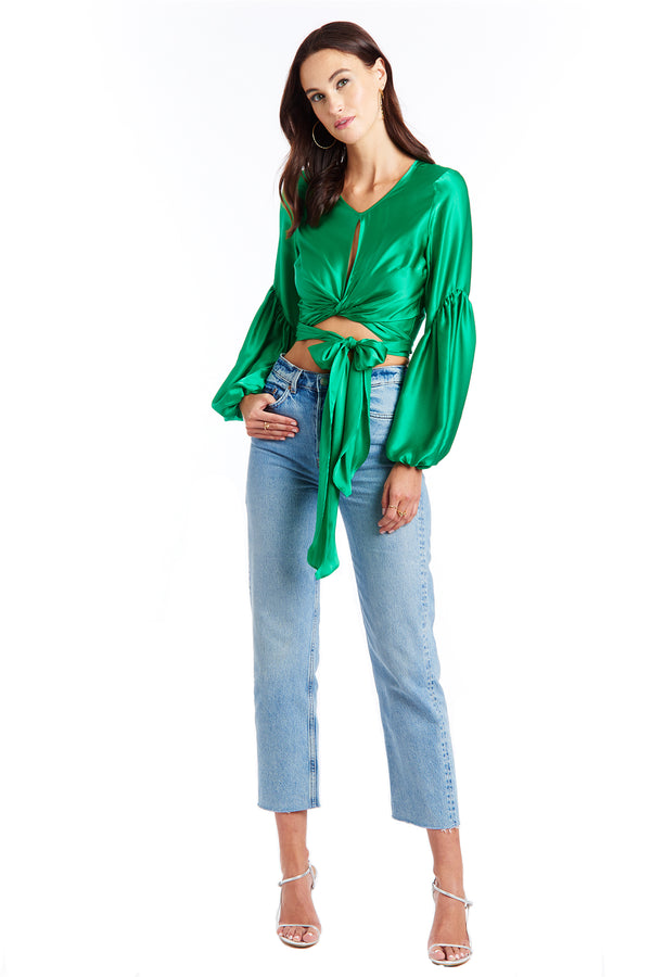 Amanda Uprichard Moira Silk Wrap Top - Green | Women's Tops