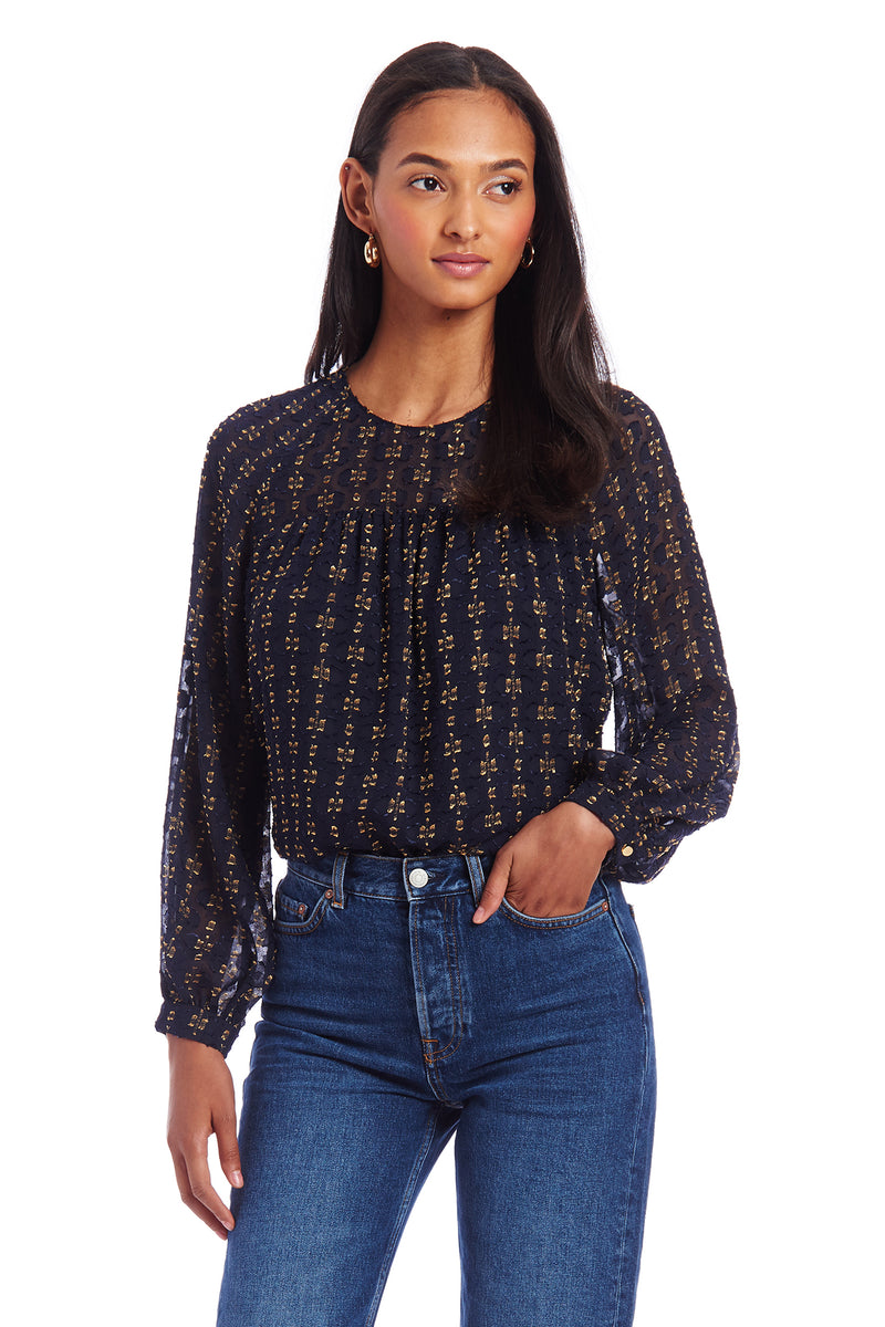 Amanda Uprichard Nanette Top - Navy/Gold | Women's Top