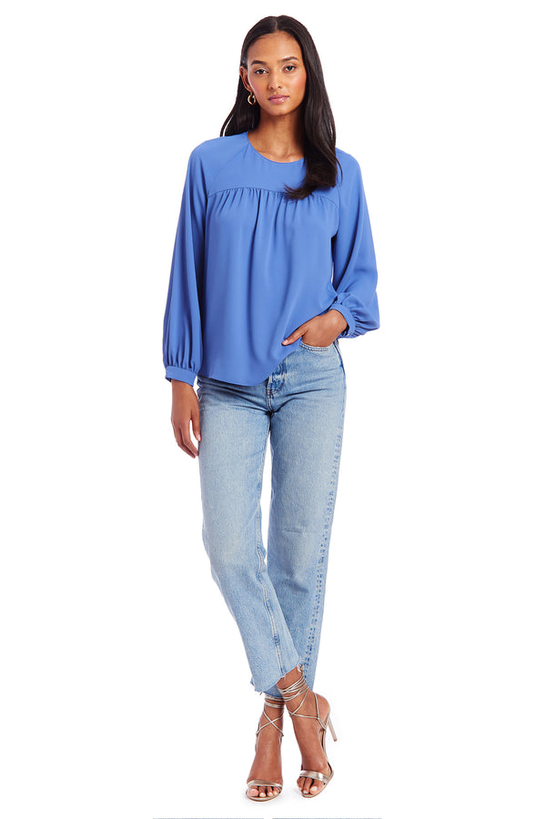 Amanda Uprichard Nanette Top- Blue| Women's Tops