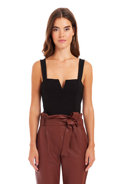 Amanda Uprichard Nia Bodysuit - Black | Women's Tops