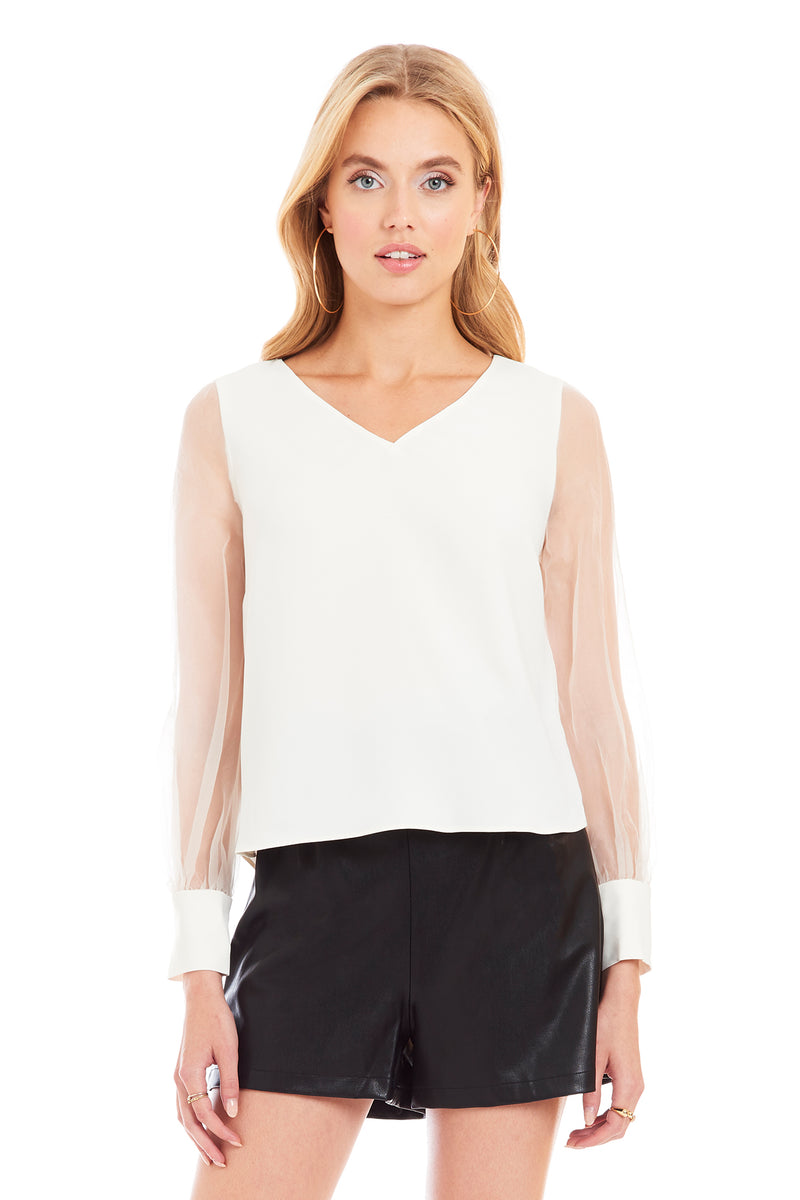 Amanda Uprichard Nicoli Top - Ivory | Women's Tops