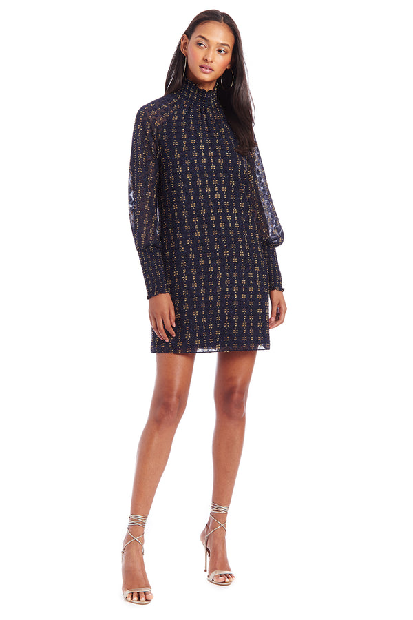 Amanda Uprichard Noemi Dress - Navy/Gold | Women's Dresses