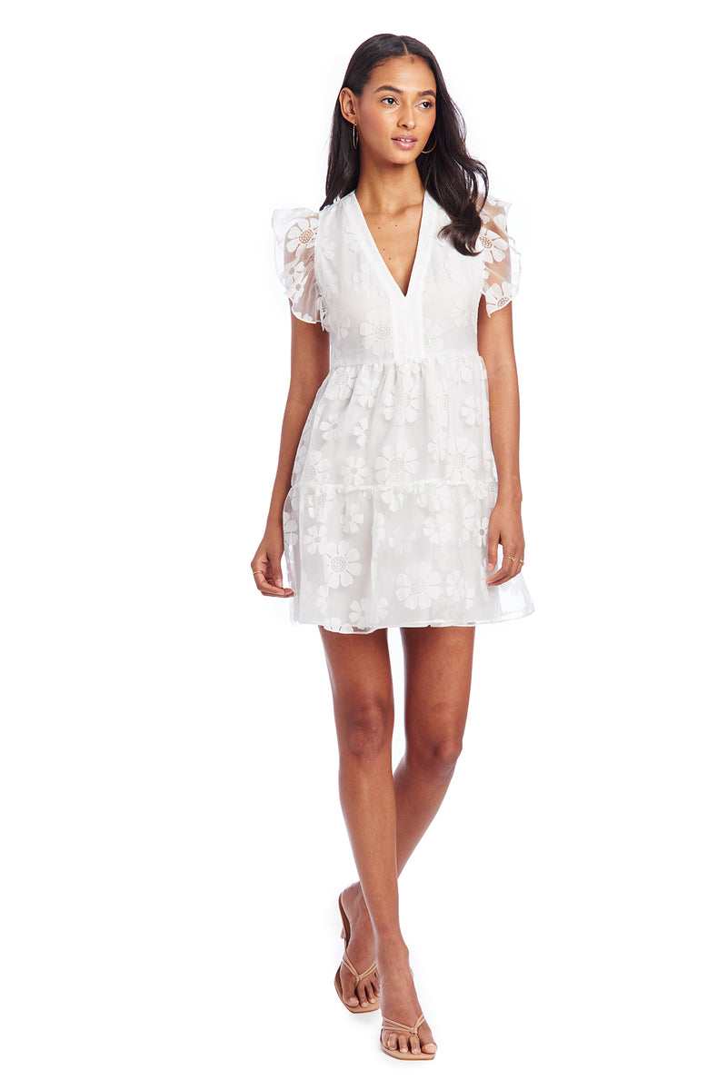 Amanda Uprichard Norma Dress - White Daisy | Women's Dresses