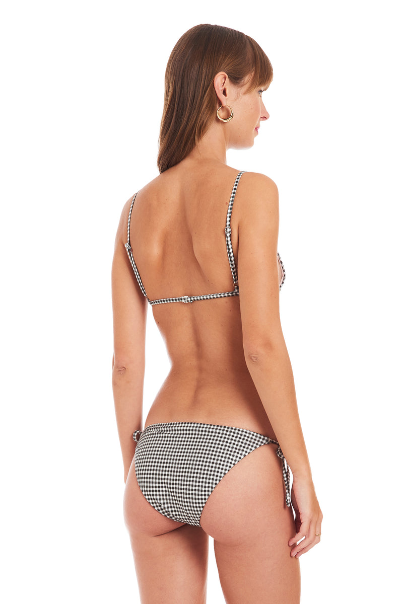 Amanda Uprichard Palm Triangle Top - Black Gingham | Women's Swim
