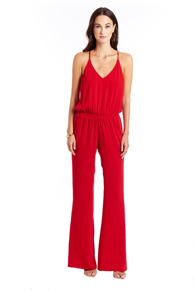 Amanda Uprichard Posh Jumpsuit - Red | Women's Jumpsuits & Rompers