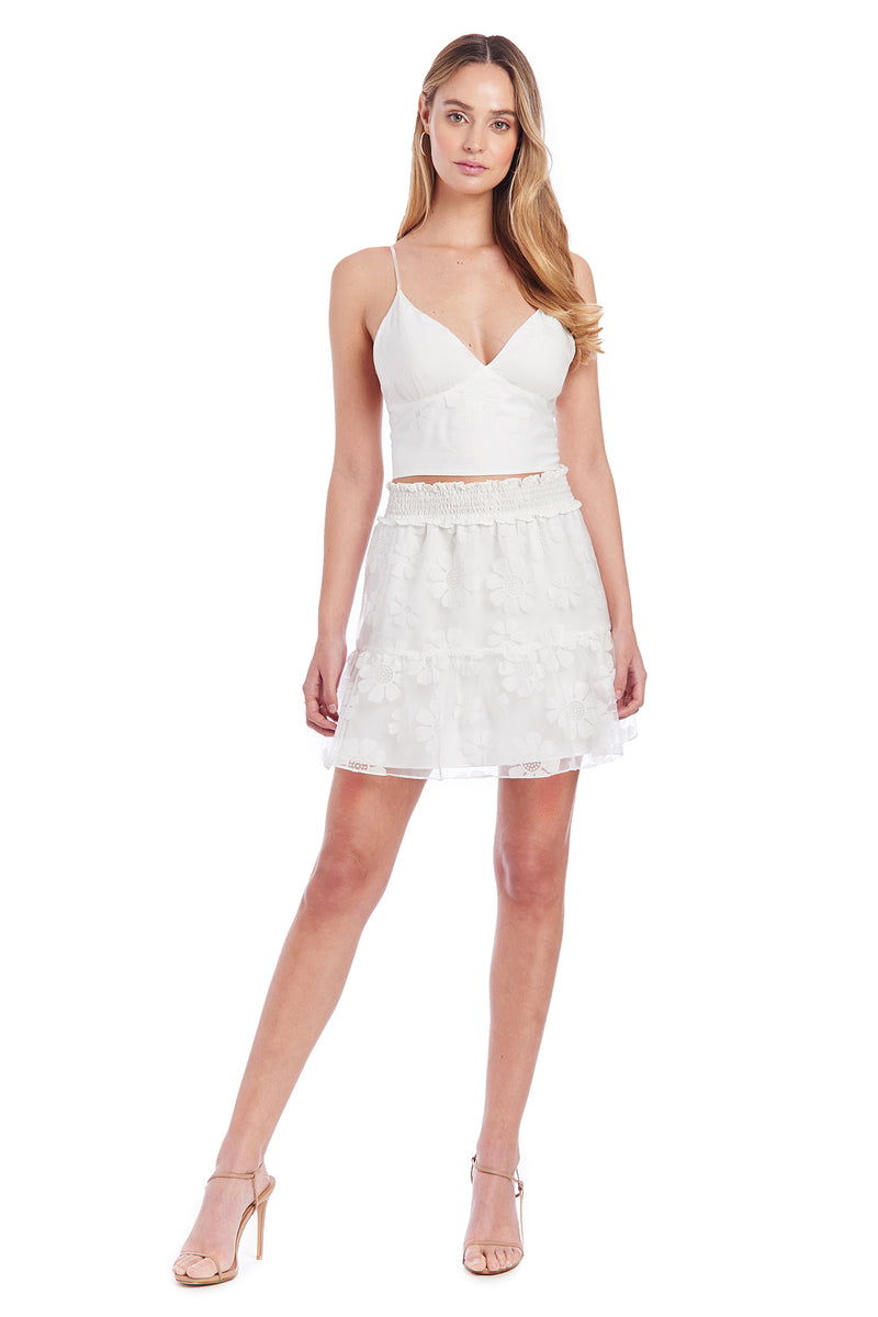 Amanda Uprichard Renata Skirt - White Daisy | Women's Skirts