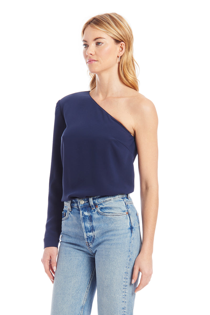 Amanda Uprichard Rogue Bodysuit - Navy Blue | Women's Tops