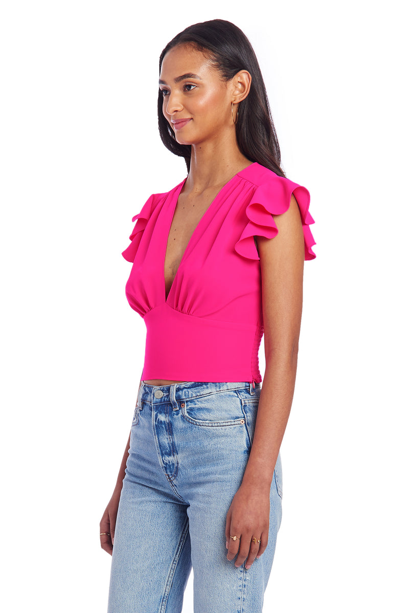 Amanda Uprichard Romy Top - Hot Pink | Women's Tops