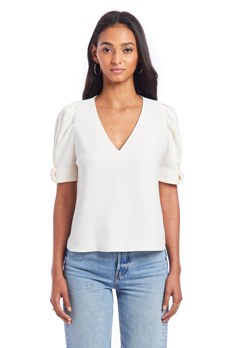 Amanda Uprichard Shailene Top - Ivory | Women's Tops