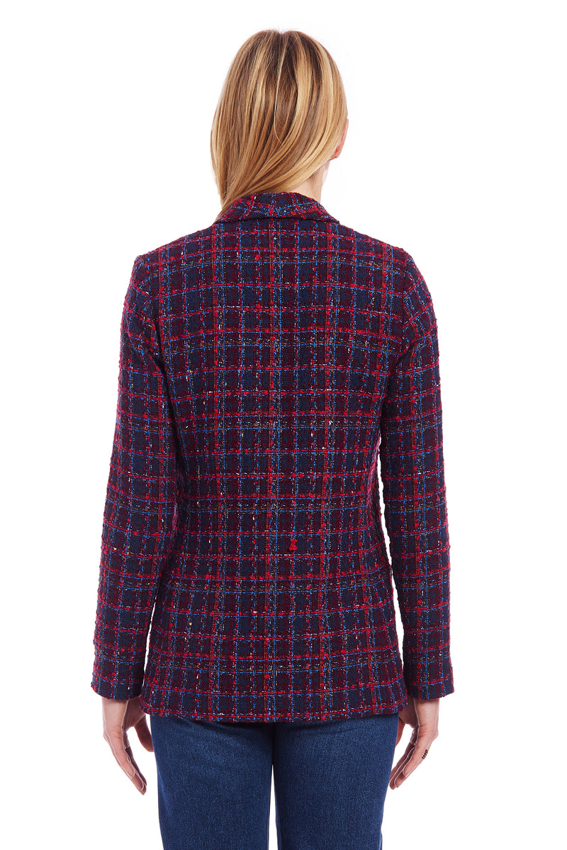Amanda Uprichard Shawl Collar Blazer - Navy Plaid Multi | Women's Blazers