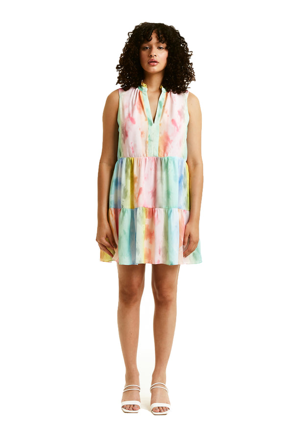 Amanda Uprichard Sleeveless Saffron Dress - Rainbow Tie Dye | Women's Dresses