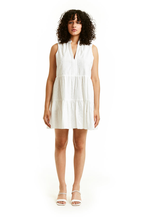 Amanda Uprichard Sleeveless Saffron Dress - White Embroidered | Women's Dresses